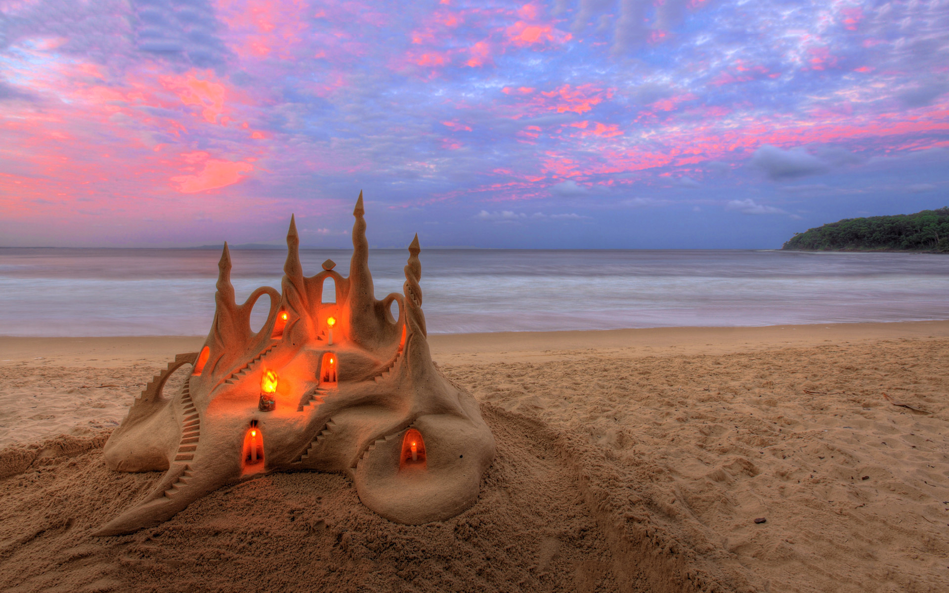 beach sandcastle wallpaper