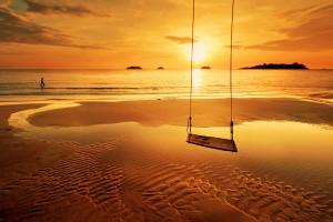 beach sunset swing hd