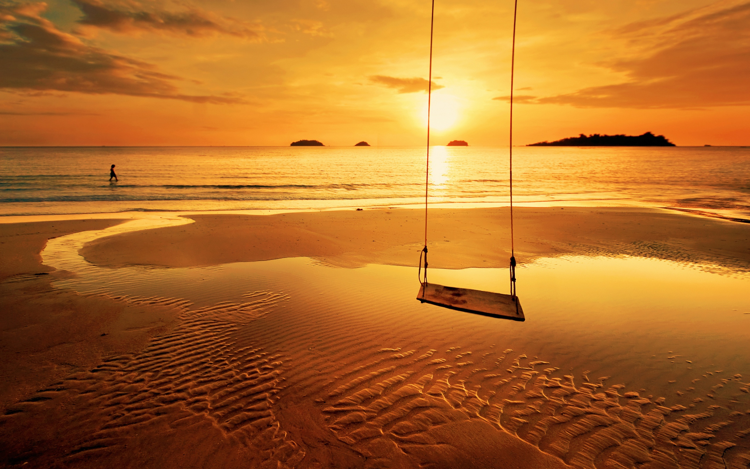 beach sunset swing hd