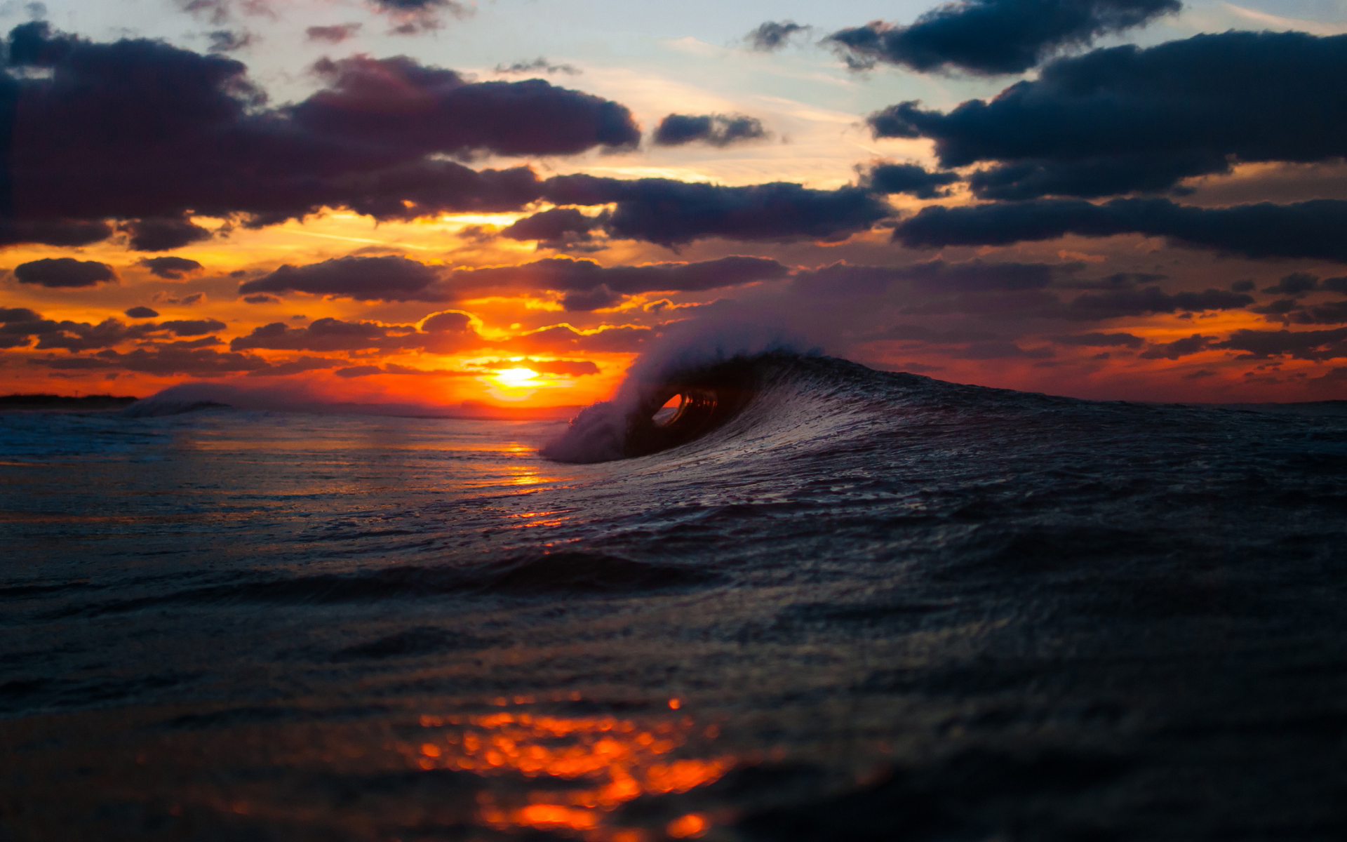 beach sunset wallpaper waves