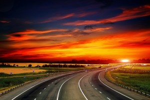 beautiful sunset wallpaper road