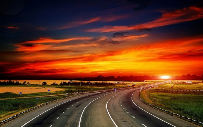 beautiful sunset wallpaper road