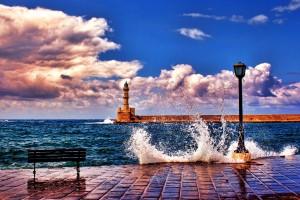 bench coast lighthouse