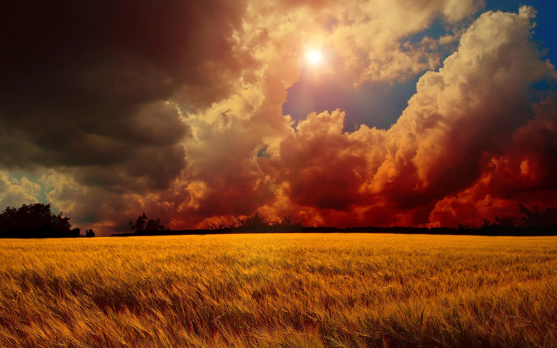 clouds wallpaper sunset fields