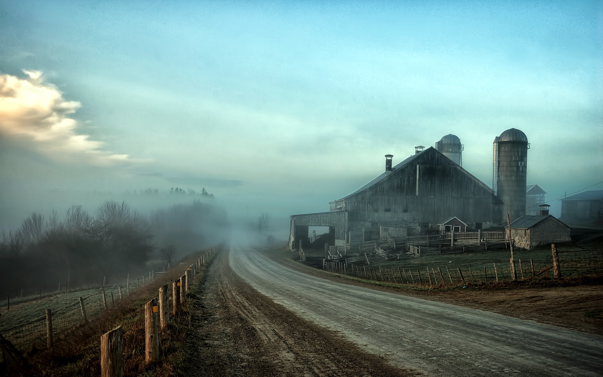 foggy farmstead wallpaper