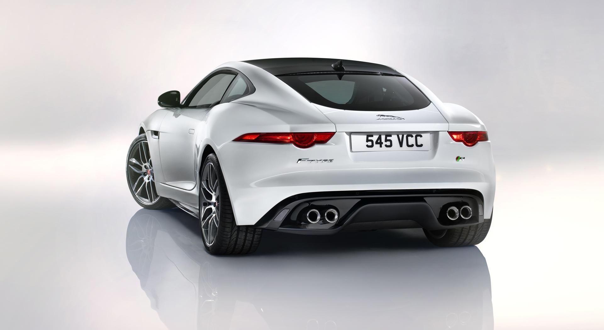 jaguar f type r coupe white car