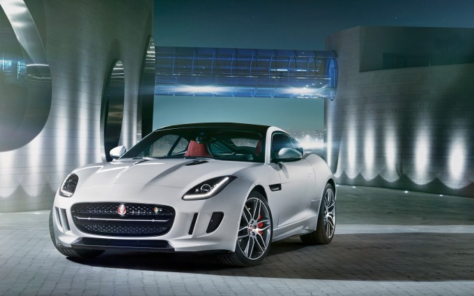 jaguar f type r coupe white front