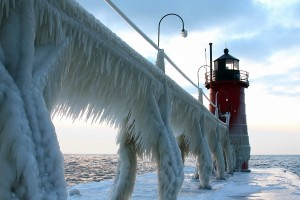 lighthouse icy road