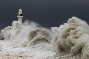 massive crashing waves