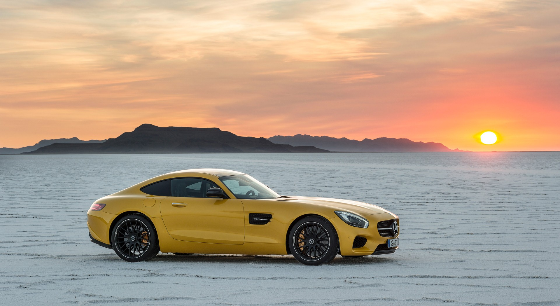 mercedes benz amg gt sunset hd