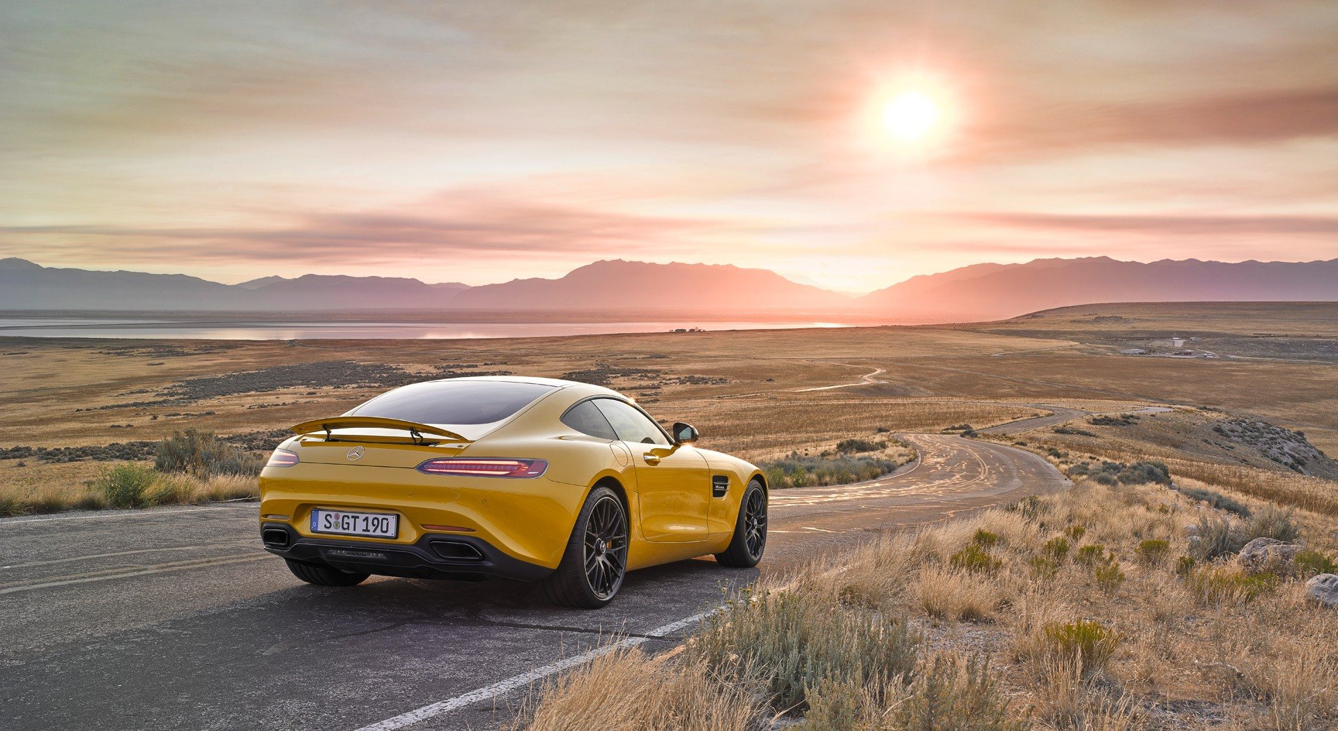 mercedes benz amg gt sunset