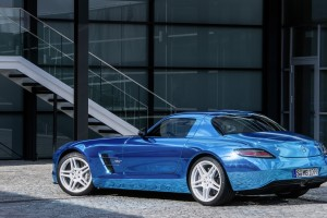 mercedes benz sls amg blue back
