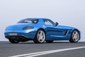 mercedes benz sls amg blue rear