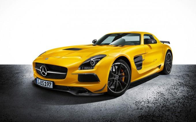 mercedes benz sls amg yellow front
