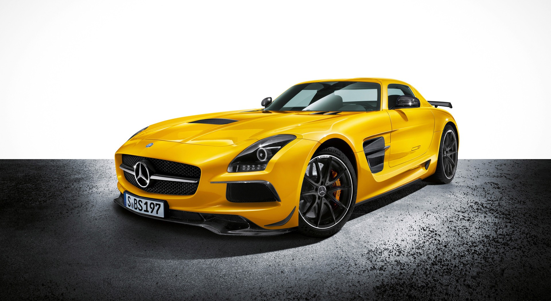 mercedes benz sls amg yellow front