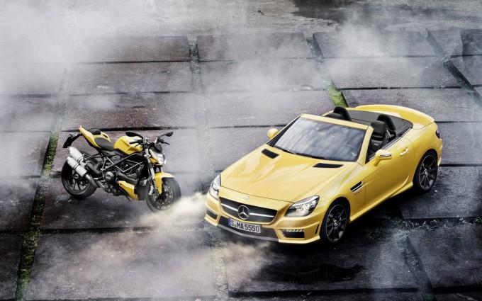 mercedes slk yellow bike
