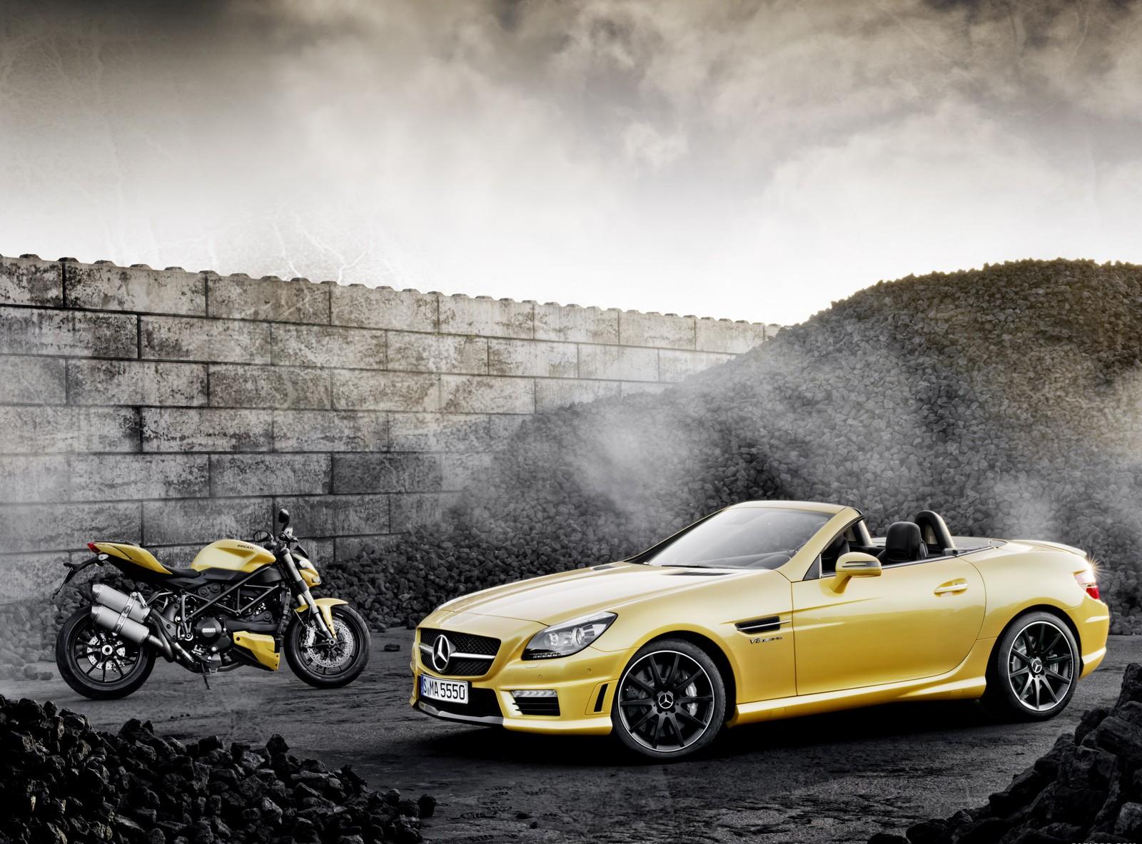 mercedes slk yellow cars