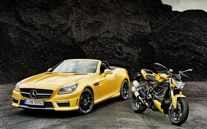 mercedes slk yellow photo