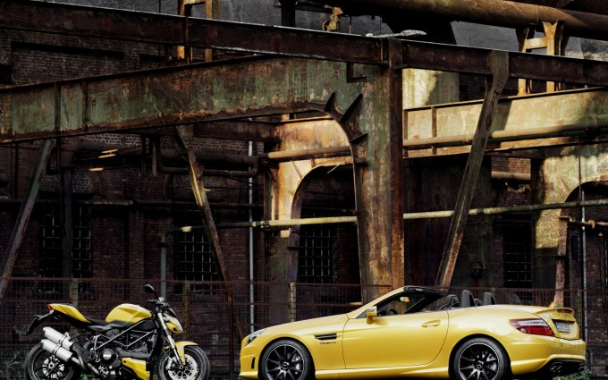 mercedes slk yellow wallpaper