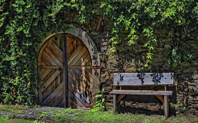 old bench door