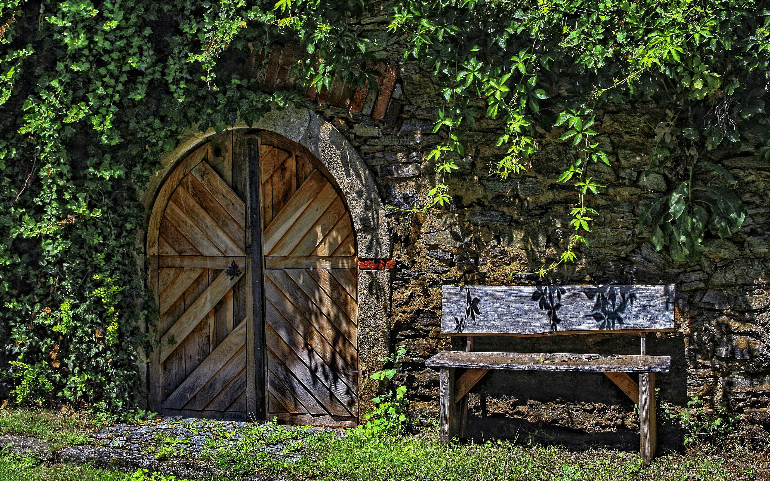 old bench door