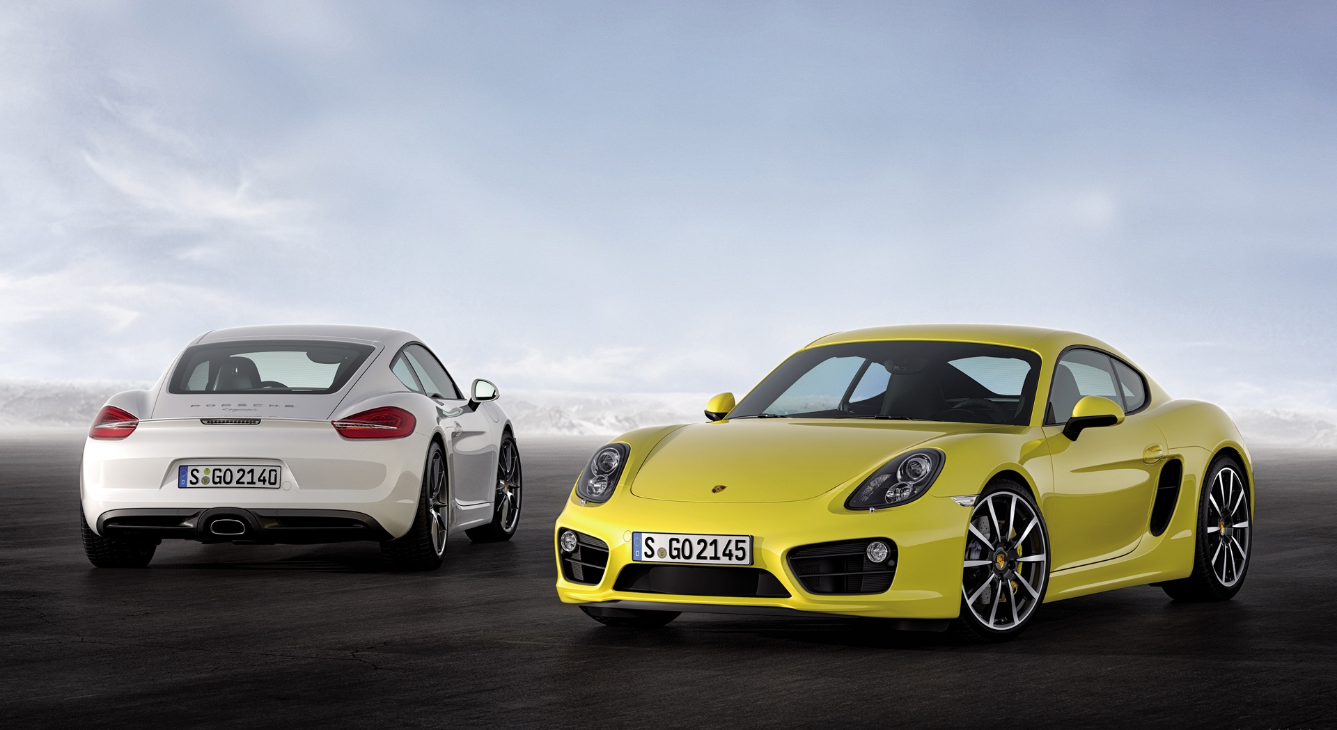porsche cayman white yellow