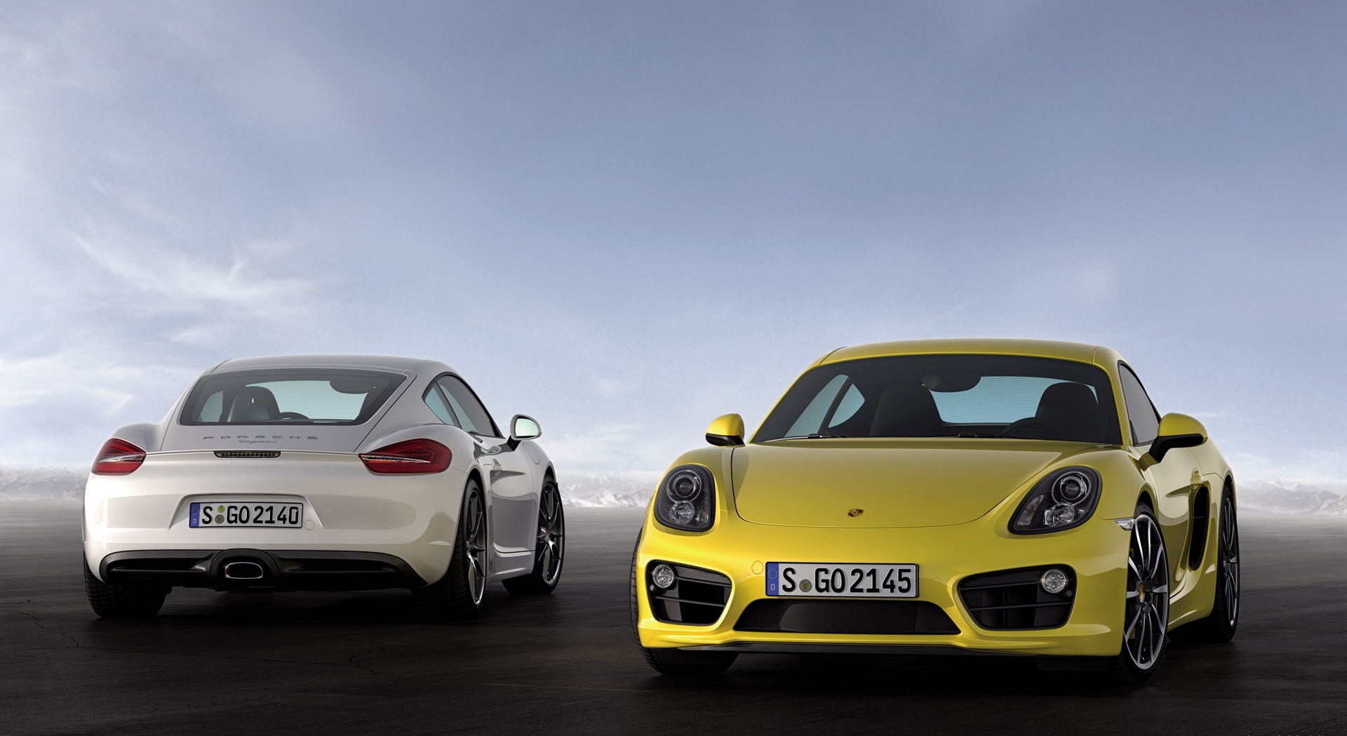 porsche cayman yellow white