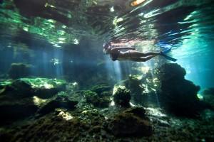 snorkeling girl undewater