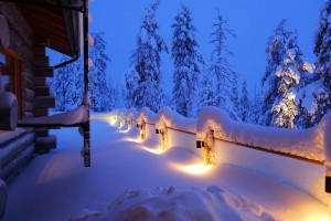 snow house lights winter