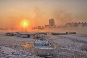 sunrise snow winter