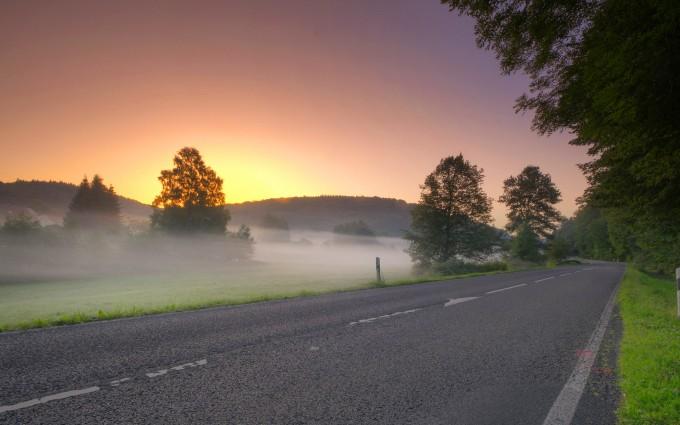 sunrise wallpaper road