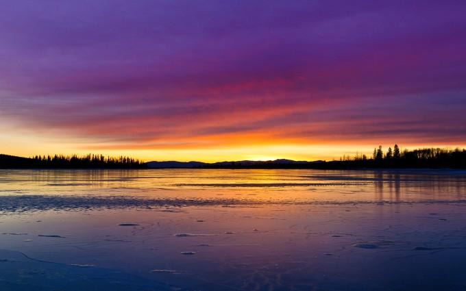 sunset lake hd image download