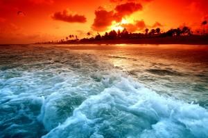 sunset ocean beach hd