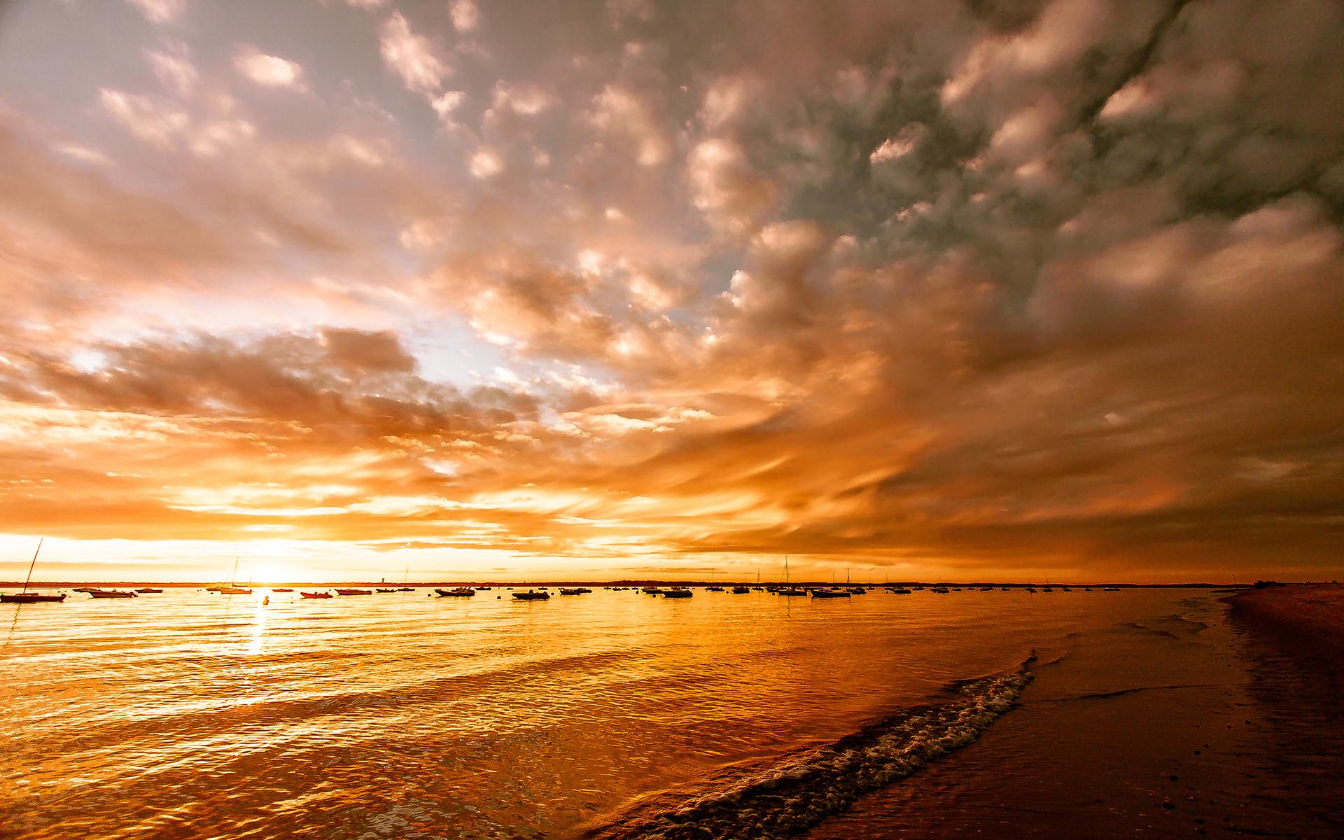 sunset wallpapers waves orange