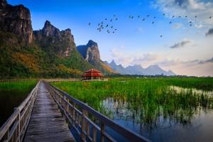 thailand lake bridge hd