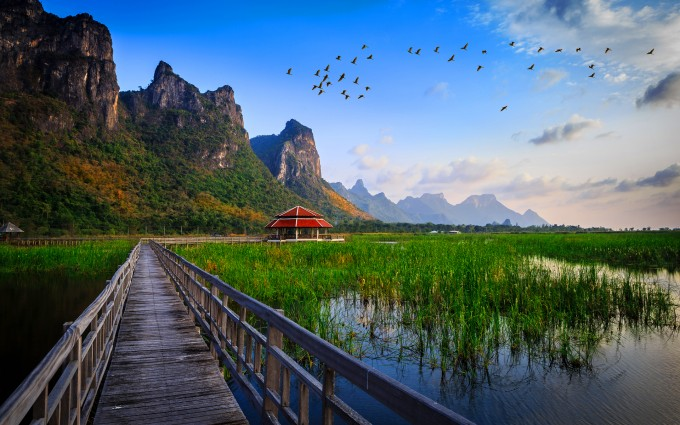 thailand lake bridge hd