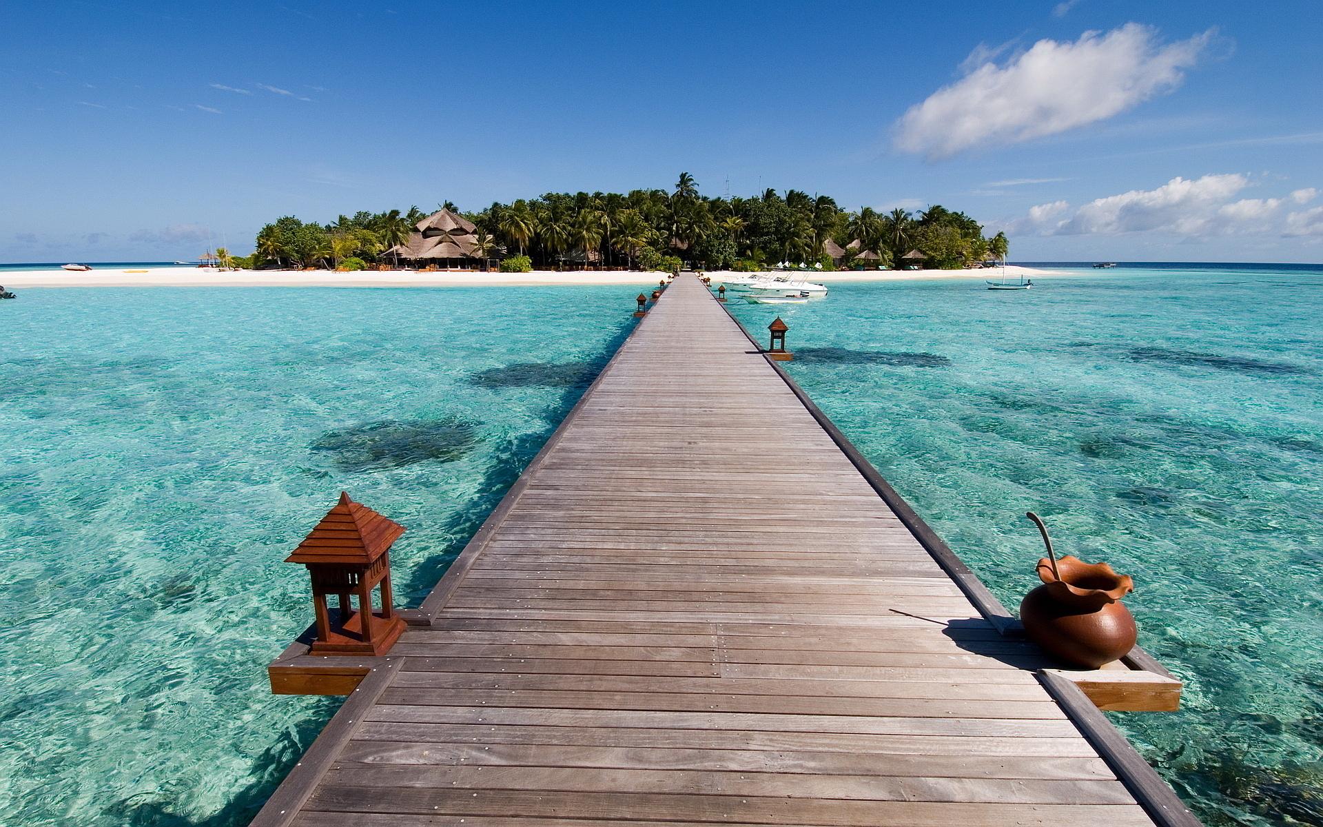 tropical beach island bridge