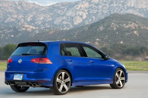 volkswagen golf r blue rear