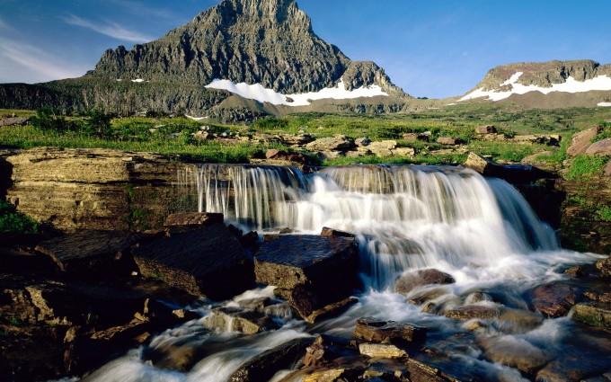 alps waterfall nature