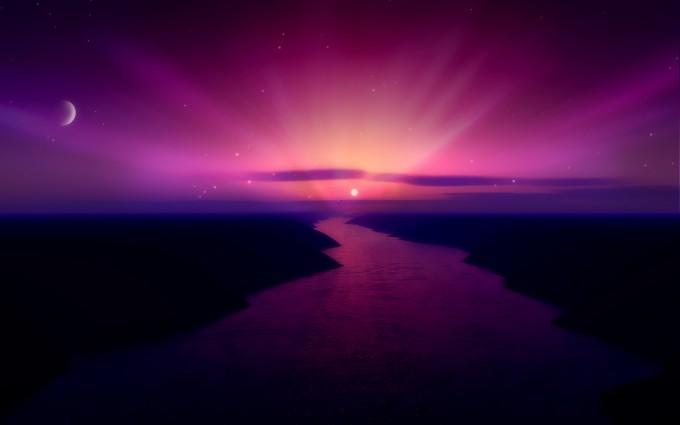 aurora wallpaper sunset
