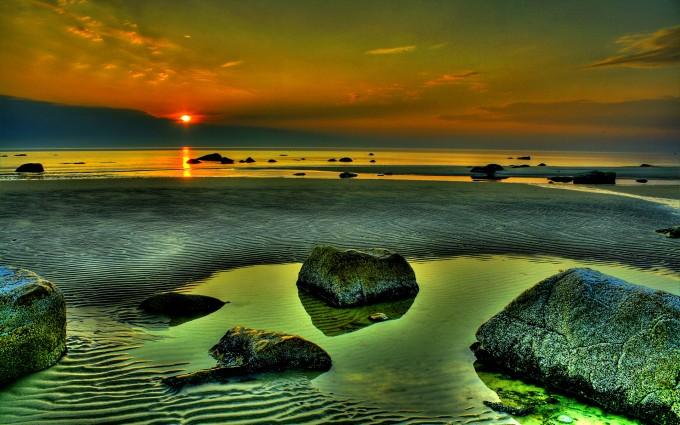 beach sunset wallpaper green