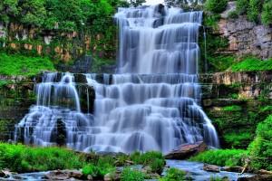 blue forest wallpaper waterfall