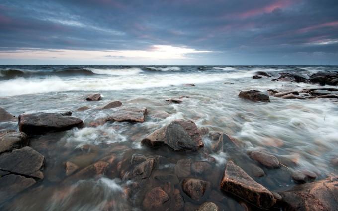crashing waves  sea shore
