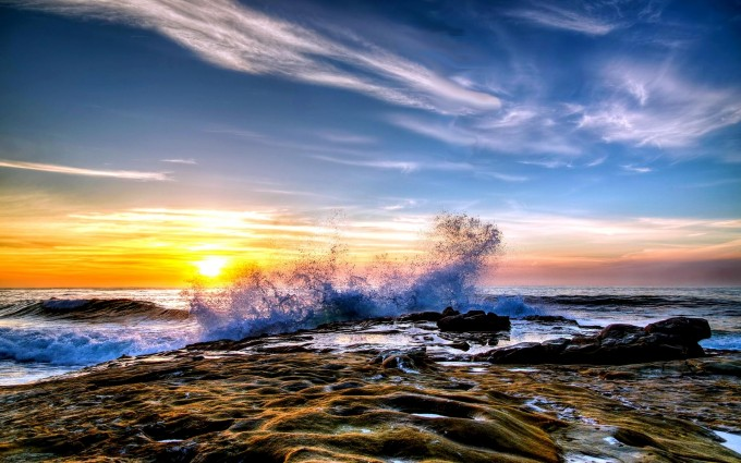 crashing waves sunset