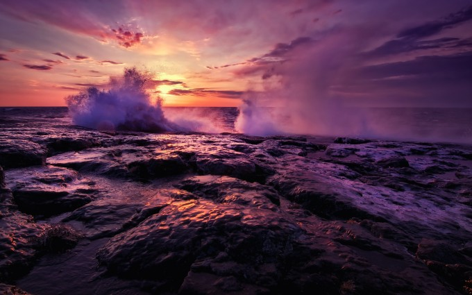 crashing waves wallpaper sunset