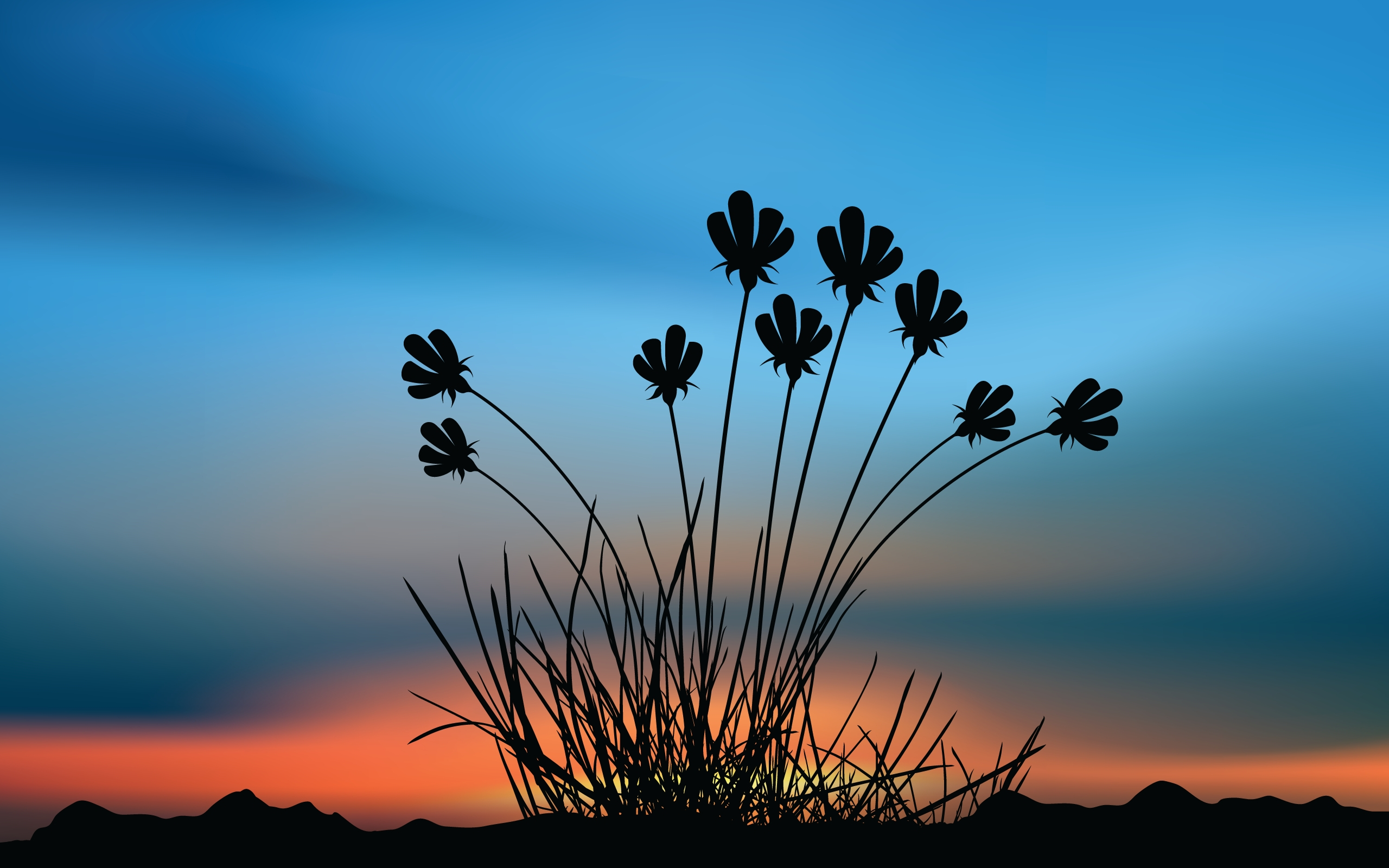 flowers sunset shape