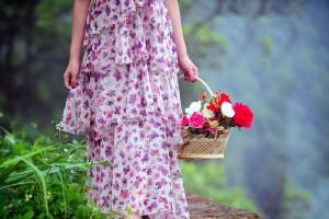 girl flower basket