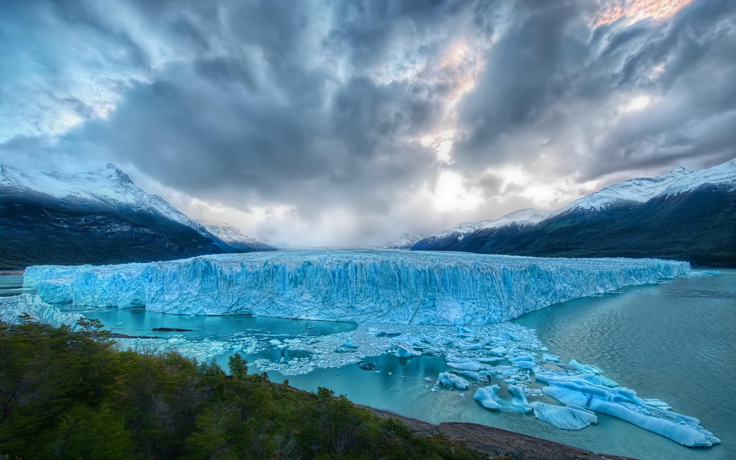 glacier wallpaper clouds