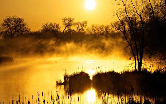 lake wallpaper mist