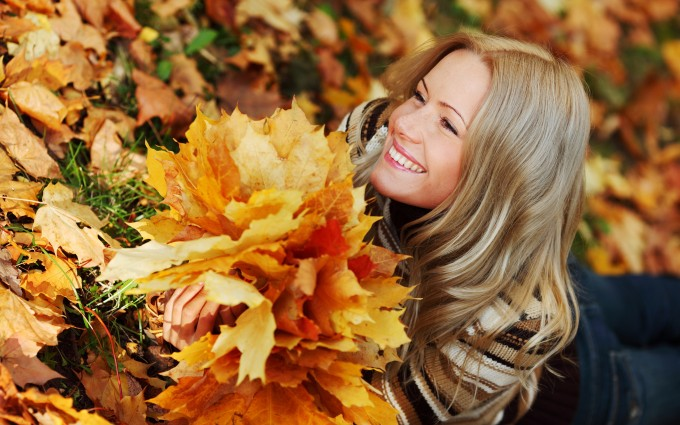 leaves images girl